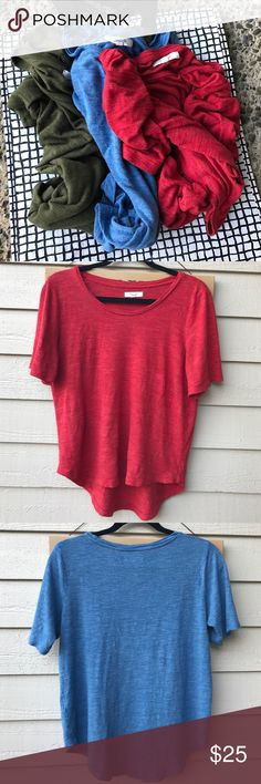 Madewell bundle of 3 Three tops by Madewell. The green one is tagged size small but fits exactly as the two others and listing as all size medium. I've worn them several times and they've been well cared for. Material is 100% Varicose, I wash on gentle cycle then lay flat to dry. Once dried, their shape and softness returns. Only flaw is shown in last photo, pin hole on the green top. I still wore as is, makes a great layering piece too. Selling as bundle only, price reflects wear described…