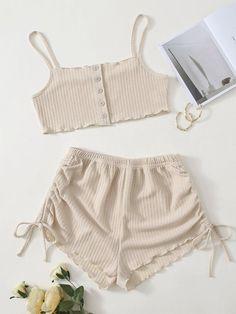 Girls Fashion Clothes, Girl Fashion, Fashion Outfits, Sleep Tight, Bandeau Top, Pj Sets, Easy Wear, Korean Outfits, Waffle Knit