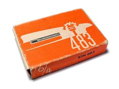 A box of office staples with simple constructivist, no-nonsense graphics: a silhouette of a stapler (with a staple strip in place) and the product ID number. KIN stands for Koh-I-Noor factory. Made in Czechoslovakia, Vintage Packaging, Packaging Design, Russian Constructivism, Koh I Noor, Typography Poster, Stationery Design, Vintage Designs, Signage, Branding