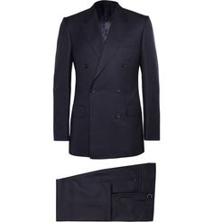 KingsmanNavy Double-Breasted Super 120s Wool Suit