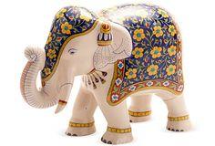 Blue & Yellow Elephant Figurine on OneKingsLane.com