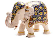 Blue & Yellow Elephant Figurine
