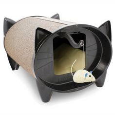 """SkratchKabin Oatmeal, $ 75, now featured on Fab.  Now here's a good idea.  A scratching """"post"""" which doubles as a place for kitty to rest and a toy for fun."""