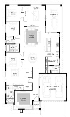 Browse our range of 4 Bedroom House Plans & Home Designs. We have plans to suit a wide range of different block sizes, configurations and frontages. House Layout Design, House Layouts, 4 Bedroom House Plans, House Floor Plans, New Home Designs, Home Design Plans, Slimming World, Porches, Activity Room