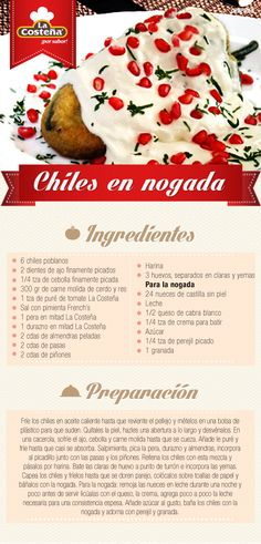 Chiles en Nogada #receta #mexicana #LaCosteña