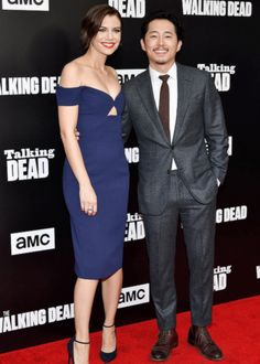 Lauren Cohan and Steven Yeun attend AMC presents 'Talking Dead' on October 23, 2016 in Los Angeles, California