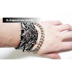 Personalized Titanium Black Leather Skull Goth Punk Emo Wristband SKU-71113029