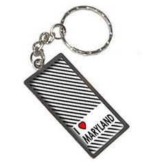 I Love Heart Maryland Keychain Key Chain Ring, Silver