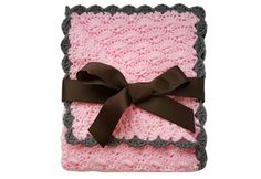 Baby girl blanket - Crochet baby blanket Pink/Charcoal trim, Stroller/Travel/Car seat blanket - Photography Props- Baby girl shower gift by RoyalCrownHandmade on Etsy