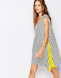 Sportmax Code V Neck Dress in Stripe