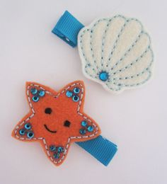 Ocean Theme Starfish and Clam Felt Baby Hair Clip Set - Summer Hair Clips- Baby Hair Bow - Newborn, infant, toddler Hair Clip on Etsy, $6.50