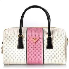PRADA Saffiano Fori Boston Satchel Handbag