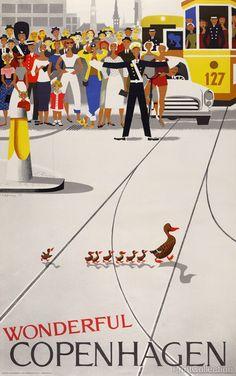 Wonderful Copenhagen created by Viggo Vagnby, in 1959. Published in Copenhagen, Denmark for Tourist Association of Copenhagen, 1961. Color lithograph, at 99.1 x 61.5 cm. Travel poster for Copenhagen s
