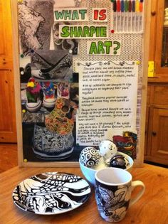 Sharpie Art Activity at ArtPad. We made an information board and decorated plates, bowls, tealight holders, cups and baubles.