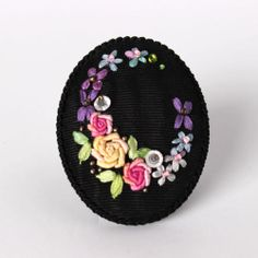 Handicraft Antique Unique Silk Ribbon Embroidery Brooch Pin Flower Black