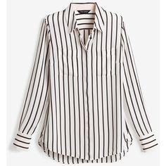 White House Black Market Stripe Blouse ($98) ❤ liked on Polyvore featuring tops, blouses, striped blouse, shirt blouse, long sleeve blouse, stripe shirt and petite blouses