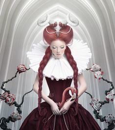 """Alice in Wonderland:  The #Red #Queen ~ """"Queen of a Dead Red Heart,"""" by LuneBleu, at deviantART."""