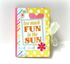Summer mini album/ Photo album/ Premade mini album/ Travel album/ Hello summer/ Memories book/ Colorful vacation mini album by sweetpaperlife on Etsy