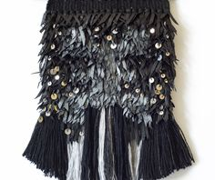 Black wall hanging, silver wall hanging, black wall décor, black wall art, handwoven wall hanging, boho wall hanging, leather wall décor by HandPlusFiber on Etsy