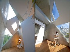 polyhedral monoclinic house by atelier tekuto in tokyo, japan