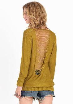 Back Talk Shredded Knit Sweater by threadsence.com $44