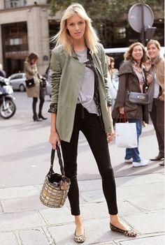 military jacket- Casual street style on Anja Rubik.
