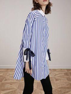 Casual Stripes Cotton Asymmetrical Long Sleeve Tunic