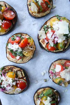 Try this healthier recipe take on bruschetta: Grilled Eggplant Bruschetta // Salty Canary