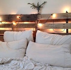 this diy pallet bed with lights will make you bedroom appearance more beautiful at the night you can paint the pallet bed with so many exclusive colors but