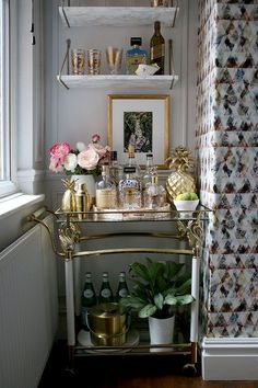 """Figure out even more info on """"bar cart decor"""". Visit our website. visit, My Formula For Styling a Bar Cart Diy Bar Cart, Gold Bar Cart, Bar Cart Styling, Bar Cart Decor, Bar Vintage, Vintage Decor, Vintage Industrial, Vintage Style, Vintage Ideas"""