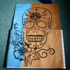 Before shot, sugar skull in progress!  #sugarskull #skull #drawing #outline #sketchbook #indiaink #ink #fineliner