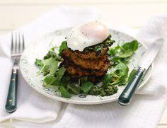 Sweet Potato & Quinoa Cakes with Poached Eggs