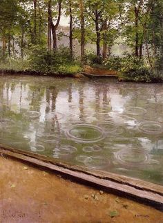 L'Yerres, pluie (1875)--Gustave Caillebotte