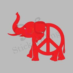 Elephant Peace Sign Decal