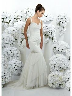 Tulle Spaghetti Strap Modified Sweetheart Delicately Ruffled Bodice Mermaid Wedding Dress