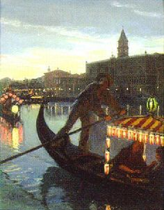 On a gondola before the Doge's Palace, Venice by August Andreas Jerndorff