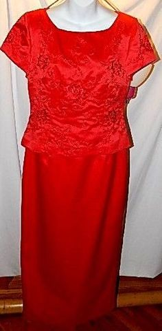 NWT New JESSICA HOWARD Red Satin Beaded Top Short Sleeve Evening Dress Size 10 #JessicaHoward #BallGown #Formal
