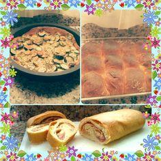 Torta di zucchine - rotolo con prosciutto e formaggio e x concludere palline farcite di mele !