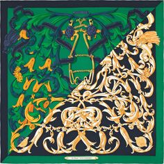Le mors à la Connétable | Ref. : H243058S 02 caban/émeraude/or jaune | Shawl in 70% cashmere and 30% silk (140 x 140 cm)