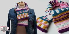 Kindersjaal. Gave kleuren en veel ingebreide patronen. Ontwerp MaRRose voor CraftKitchen.nl