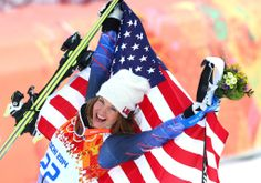 Team USA's Julia Mancuso gave a big smile after getting the bronze for the alpine skiing women's super combined event.