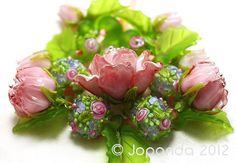 JOPANDA lampwork Beads handmade SRA | Roses Fresh PinkRosé Romantic(22)