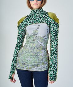 Love this Nuvula Green & Gray Geo Music Mock Neck Top by Nuvula on #zulily! #zulilyfinds