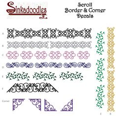 New Scrolly designs for borders to bathroom mirrors or bathtubs or just about any smooth, non-porous surface.  http://www.sinkadoodles.com/accents/scrolls.html
