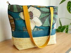 Boutique Etsy, Diaper Bag, Creations, Bags, Green Cotton, Linen Fabric, Large Bags, Art Crafts, Mustard
