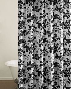 Disney Adorable Shorts Size  Mo  Mo Gray Shower Curtains - Black and white flower shower curtain