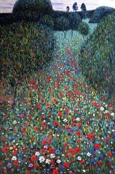 "rosiesdreams: ""The Poppy Field 1907 . By Austrian artist gustav-klimt "" Gustav Klimt, Klimt Art, Monet, Oeuvre D'art, Love Art, Amazing Art, Poppies, Art Photography, Wedding Photography"