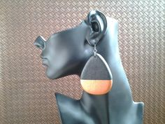 wood-teardrop-shape-earring-with-copper by IMIAccessories
