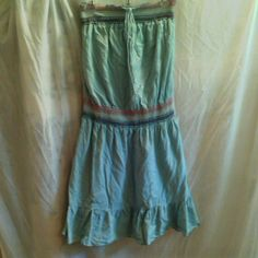 Mossimo strapless dress Mossimo, size L, ruffled at bottom, orange, cream and brown embroidered detailing around waist and bodice elastic, teal blue , strapless dress. Mossimo Supply Co Dresses Strapless