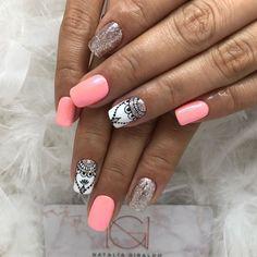 Heart Nails, Dream Nails, Art Girl, Manicure, Nail Designs, Nail Art, Beauty, Work Nails, Lace Nails